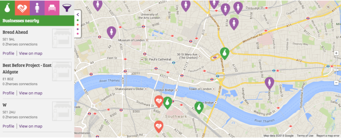 New platform: the planZheroes map connects businesses, charities and volunteers to make sure surplus food gets to the people who need it.